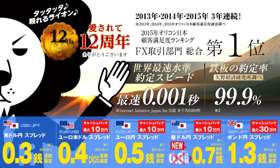 ヒロセ通商は、2013年・2014年・2015年3年連続でオリコン日本顧客満足度ランキングFX取引部門総合第1位!頼れるライオンの愛称で愛されて12周年!最速0.001秒の世界最速水準約定スピード!99.9%の鉄板の約定率(矢野経済研究所調べ)