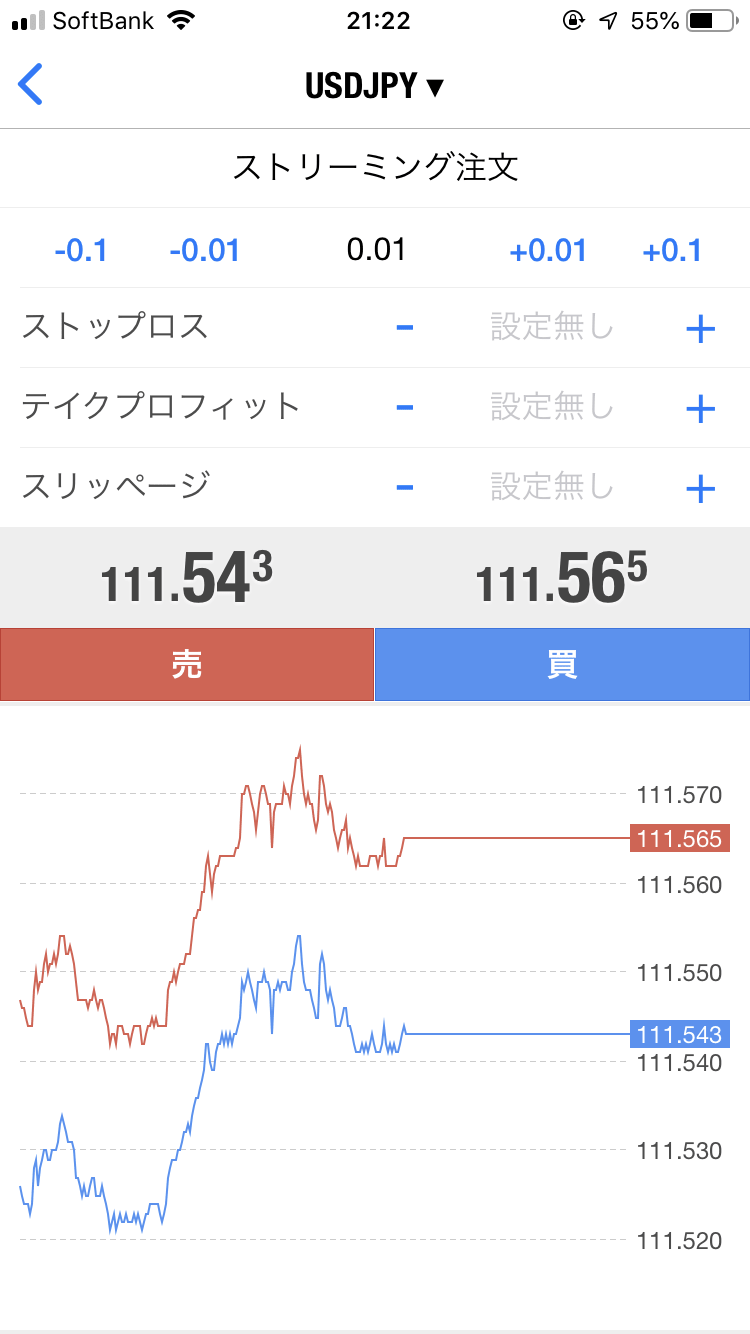 MT4 アプリ 注文画面