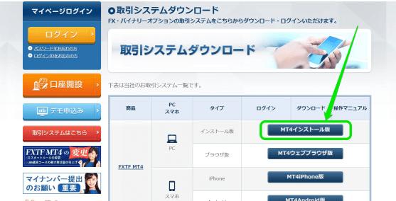FXTF(ゴールデンウェイ・ジャパン)のホームページからMT4をインストール