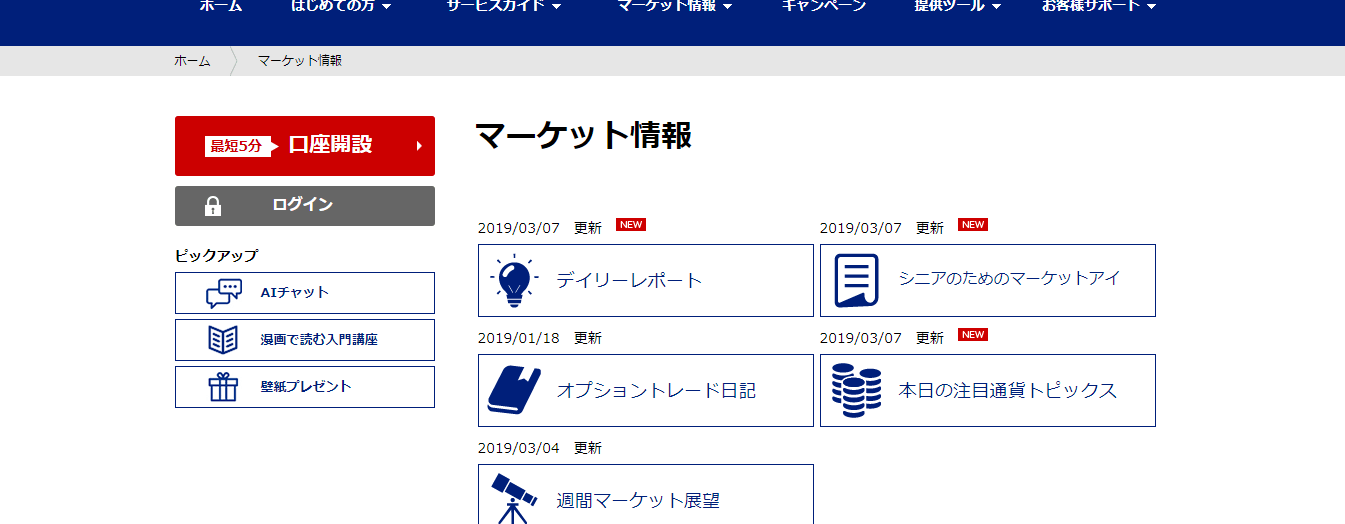 SBI FXトレード マーケット情報